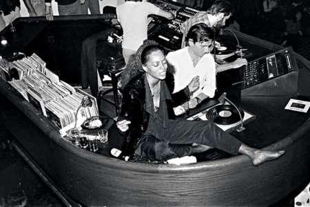 Diana Ross in the DJ box at Studio 54