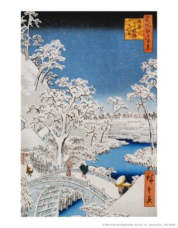 Drum Bridge at Meguro, Ando Hiroshige.